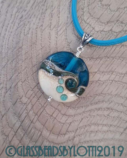 Turquoise and Ivory beach bead necklace