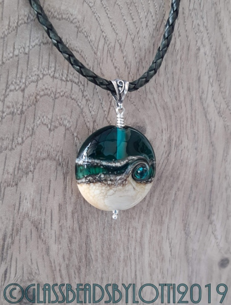 Teal and Ivory beach bead necklace