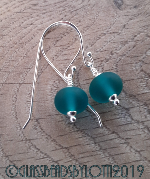 Etched teal and sterling silver earrings