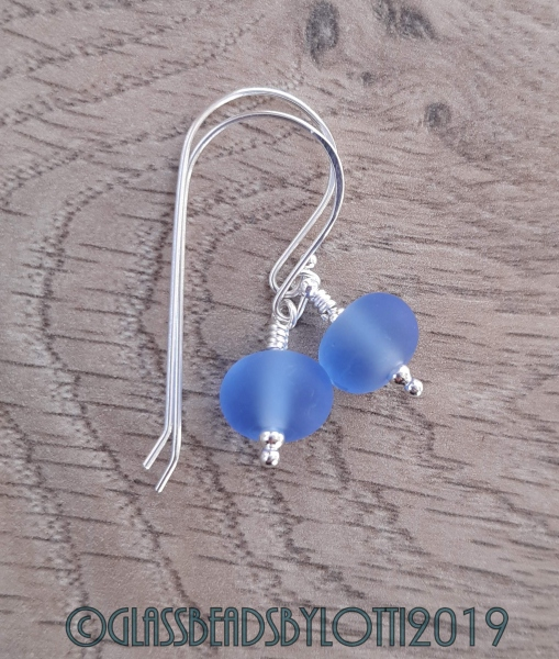 Etched pale blue and sterling silver earrings