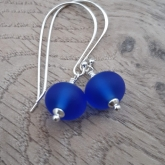 Blue etched earrings