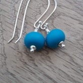 Dark turquoise etched earrings